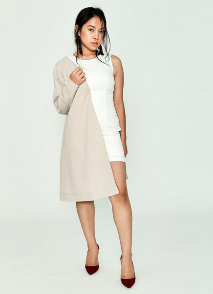 White and Beige Asymmetrical Dress