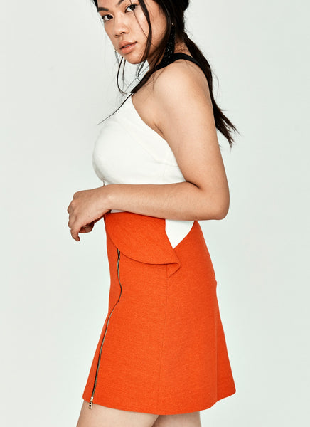 Halter White & Orange Short Dress