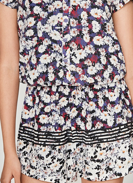 Floral Romper with Back Cut Out