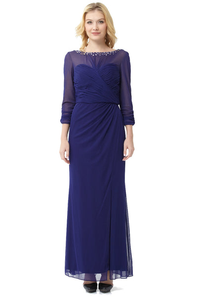 Embellished Ruched Bodice Long Dress