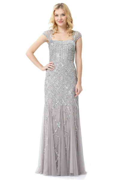 Beaded Portrait-Collar Gown