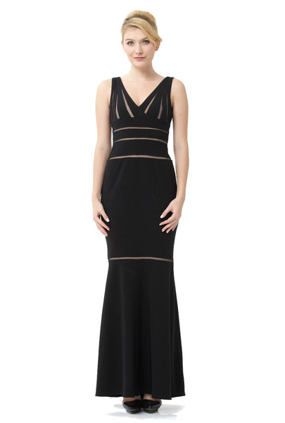 Sleeveless Mesh Inset Trumpet Evening Dress