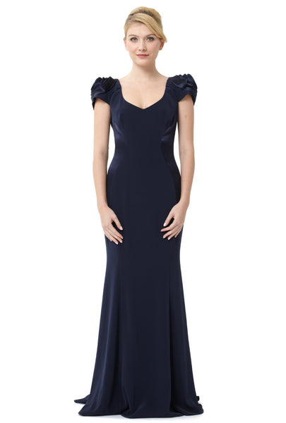 Midnight V-Neck Rose Shoulder Gown