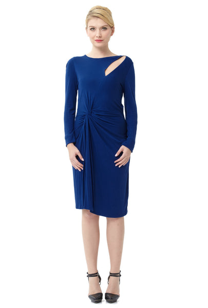Indigo Blue Stretch Ruched Twist Long Sleeve Dress