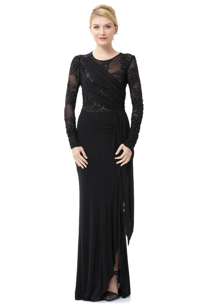 9f0e18f6f667e Black Stretch Sequin Embroidered Long Sleeve Illusion Gown – Rent A Dress