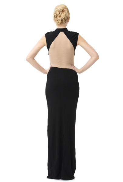 Black And Nude Illusion Cutout Gown