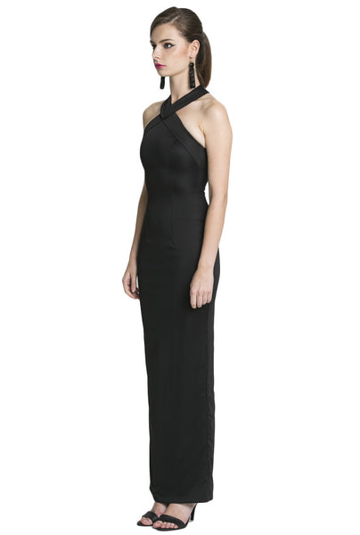 Siren Cross Strap Maxi Dress in Black