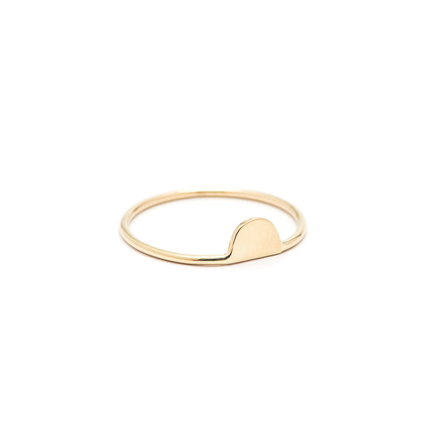 14K GOLD TINY HALF MOON RING