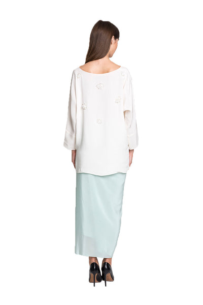 White Kedah Top with Green Silk Sarong