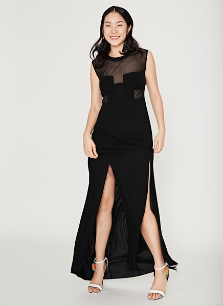 Gown With Mesh Bodice