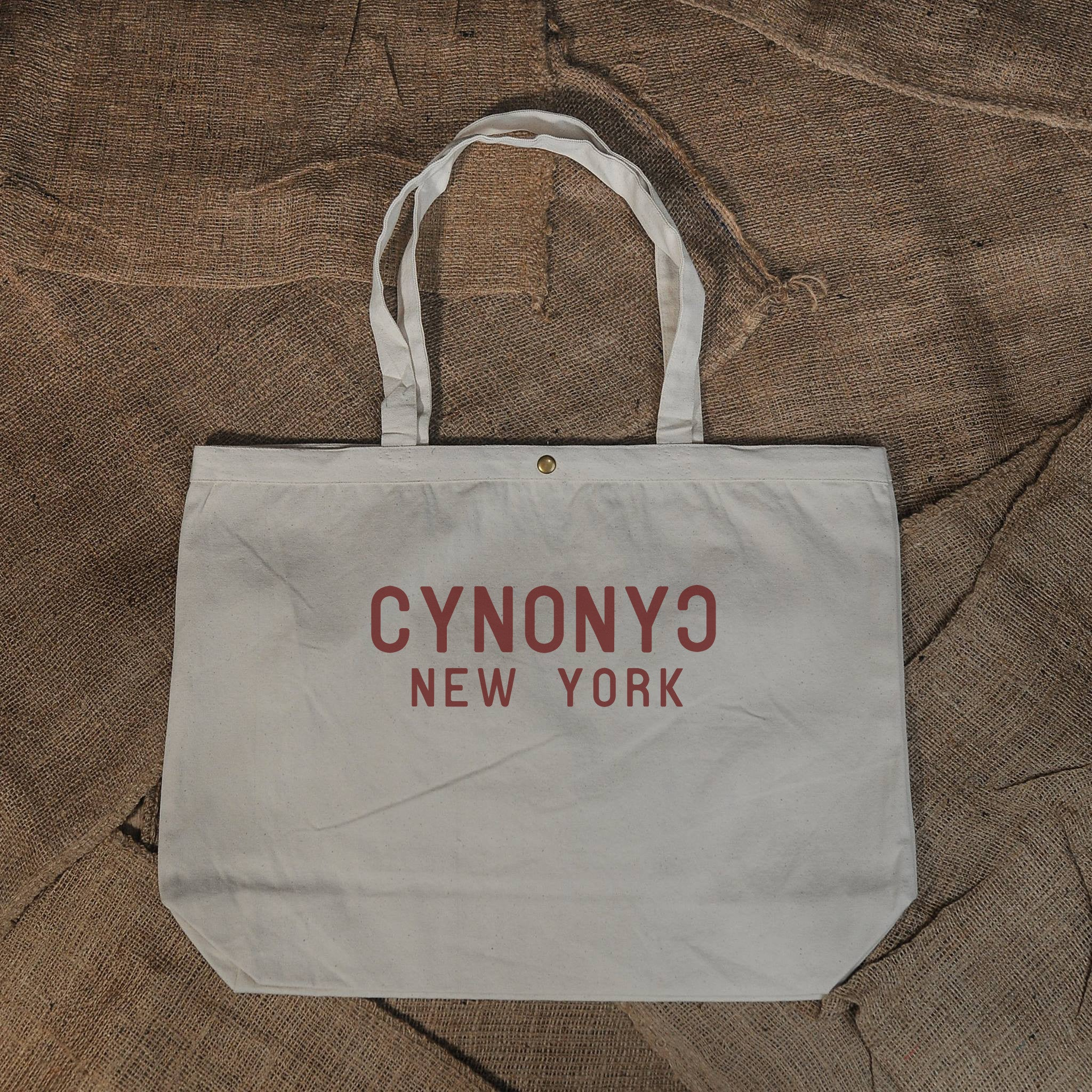 LARGE NATURAL CANVAS TOTE - CYNONYC Chinatown Clothing Company
