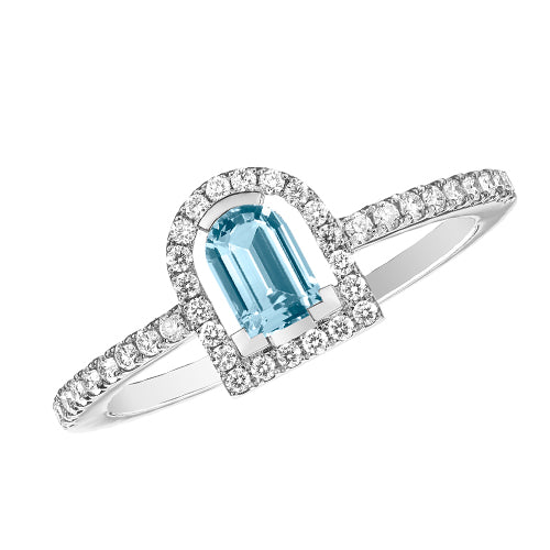 Couleur Sculptural Ring, 18k White Gold with DAVIDOR Arch Cut Aquamarine and Brilliant Diamonds