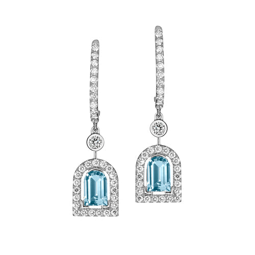 Couleur Sculptural Earring GM, 18k White Gold with DAVIDOR Arch Cut Aquamarine and Brilliant Diamonds