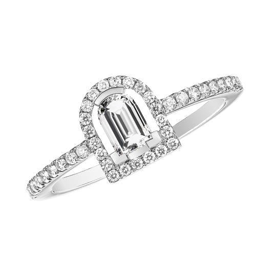 Diamant Sculptural Ring, 18k White Gold with DAVIDOR Arch Cut Diamond and Brillant Diamonds