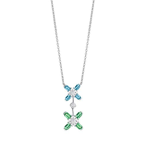 Arch Florale GM Necklace, 18k White Gold, Arch Cut Aquamarines & Green Tourmalines, and Brilliant Diamonds