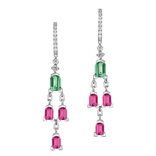 Mosaïque Arch Earrings, 18k White Gold with DAVIDOR Arch Cut Green Tourmalines and Rubellites