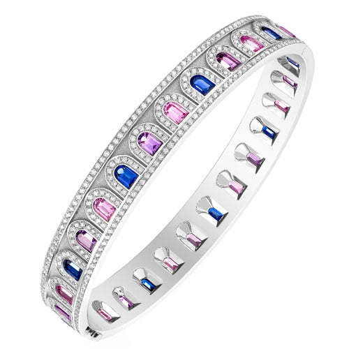 L'Arc Deco Bangle in Platinum with DAVIDOR Arch Cut Blue, Pink and Violet Sapphires and Brillant Diamonds