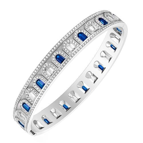 L'Arc Deco Bangle in Platinum with DAVIDOR Arch Cut Diamonds, DAVIDOR Arch Cut Blue Sapphires and Brilliant Diamonds