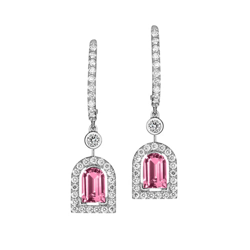 Couleur Sculptural Earring GM, 18k White Gold with DAVIDOR Arch Cut Pink Tourmaline and Brilliant Diamonds