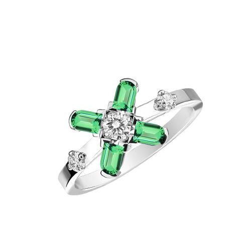 Arch Florale PM Ring, 18k White Gold with DAVIDOR Arch Cut Green Tourmalines and Brilliant Diamonds
