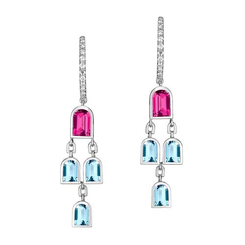 Mosaïque Arch Earrings, 18k White Gold with DAVIDOR Arch Cut Pink Tourmalines and Aquamarines