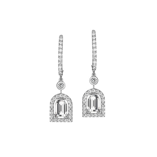 Diamant Sculptural Earring PM, 18k White Gold with DAVIDOR Arch Cut Diamond and Brilliant Diamonds