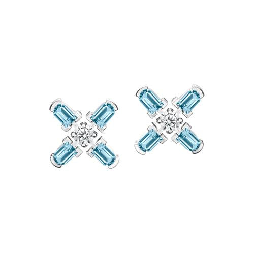 Arch Florale PM Stud Earrings, 18k White Gold with DAVIDOR Arch Cut Aquamarines and Brilliant Diamonds