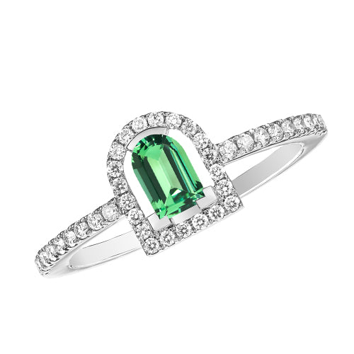 Couleur Sculptural Ring, 18k White Gold with DAVIDOR Arch Cut Green Tourmaline and Brilliant Diamonds