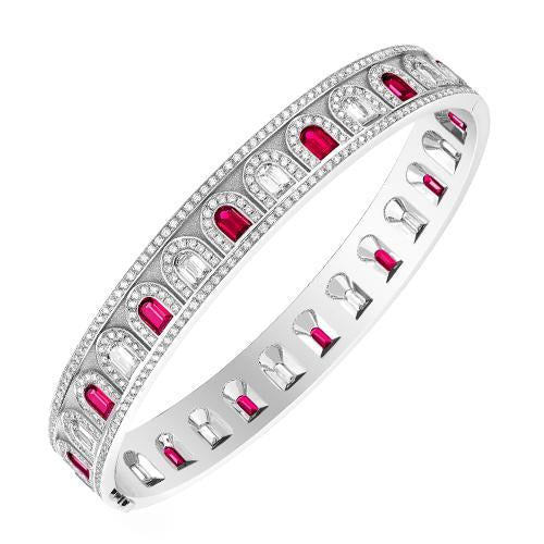 L'Arc Deco Bangle in Platinum with DAVIDOR Arch Cut Diamonds, DAVIDOR Arch Cut Rubies and Brilliant Diamonds