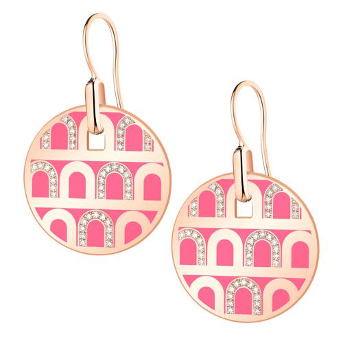 L'Arc de DAVIDOR Pendant Earring GM, 18k Rose Gold with lacquer and Colonnato Diamonds
