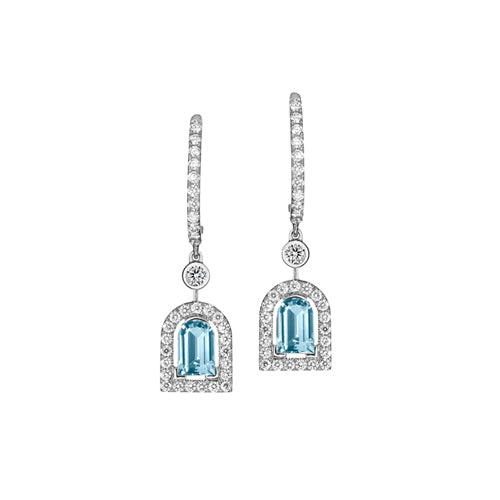 Couleur Sculptural Earring PM, 18k White Gold with DAVIDOR Arch Cut Aquamarine and Brilliant Diamonds