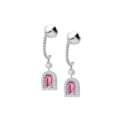 Couleur Sculptural Earring PM, 18k White Gold with DAVIDOR Arch Cut Pink Tourmaline and Brilliant Diamonds