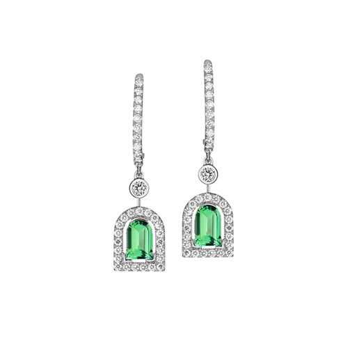 Couleur Sculptural Earring PM, 18k White Gold with DAVIDOR Arch Cut Green Tourmaline and Brilliant Diamonds