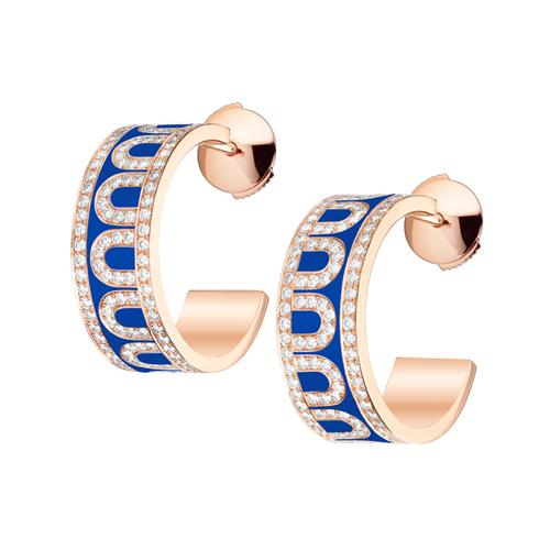 L'Arc de DAVIDOR Creole Earring PM, 18k Rose Gold with Lacquered Ceramic and Palais Diamonds