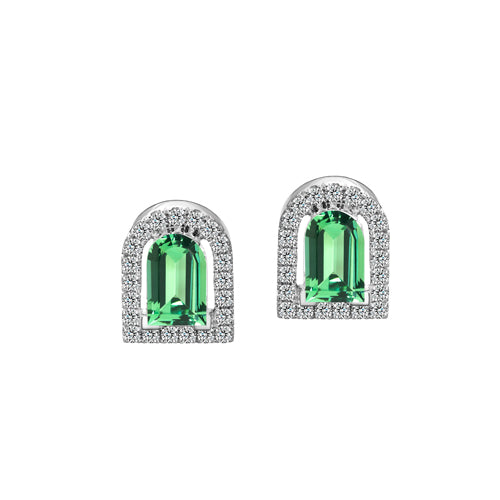Couleur Sculptural Stud Earring, 18k White Gold with DAVIDOR Arch Cut Green Tourmaline and Brilliant Diamonds