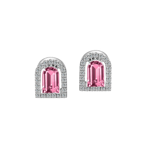 Couleur Sculptural Stud Earring, 18k White Gold with DAVIDOR Arch Cut Pink Tourmaline and Brilliant Diamonds