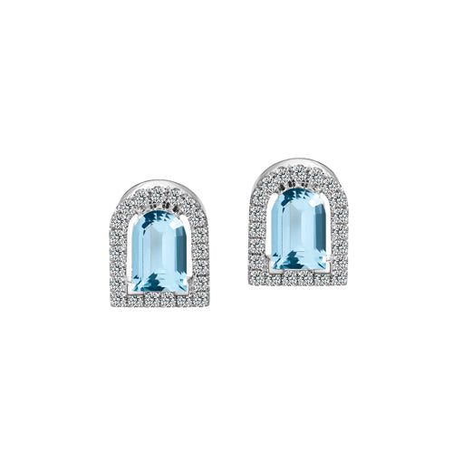 Couleur Sculptural Stud Earring, 18k White Gold with DAVIDOR Arch Cut Aquamarine and Brilliant Diamonds