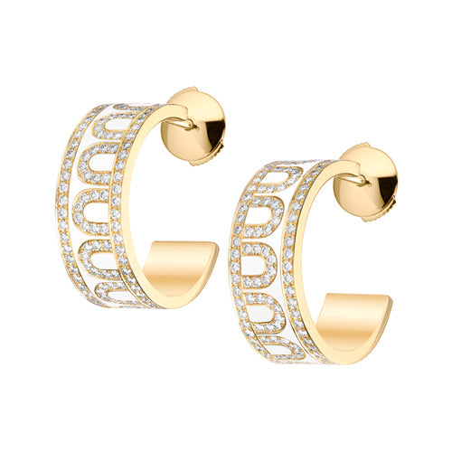 L'Arc de DAVIDOR Creole Earring PM, 18k Yellow Gold with Lacquered Ceramic and Palais Diamonds
