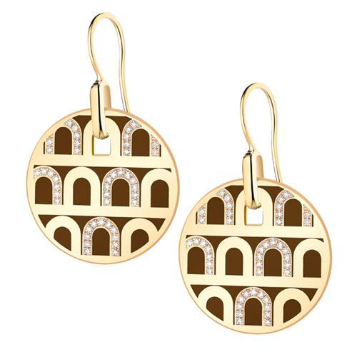 L'Arc de DAVIDOR Pendant Earring GM, 18k Yellow Gold with Lacquered Ceramic and Colonnato Diamonds