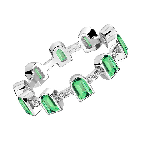 Coïncidence Ring, 18k White Gold with DAVIDOR Arch Cut Green Tourmalines and Brilliant Diamonds