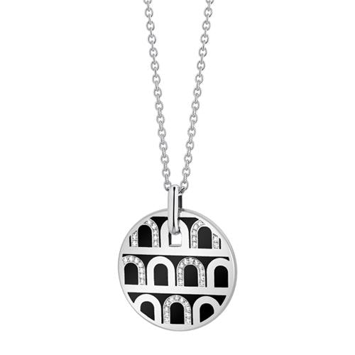 L'Arc de DAVIDOR Pendant GM, 18k White Gold with lacquer and Colonnato Diamonds