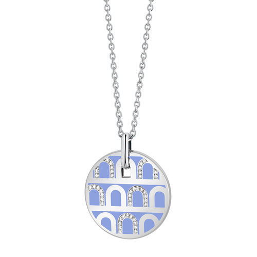 L'Arc de DAVIDOR Pendant GM, 18k White Gold with Lacquered Ceramic and Colonnato Diamonds