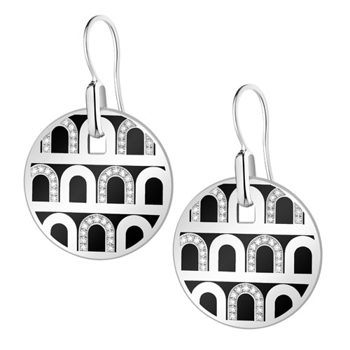 L'Arc de DAVIDOR Pendant Earring GM, 18k White Gold with Lacquered Ceramic and Colonnato Diamonds