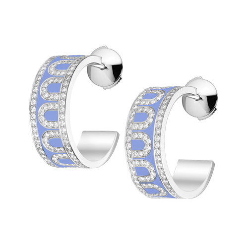 L'Arc de DAVIDOR Creole Earring PM, 18k White Gold with Lacquered Ceramic and Palais Diamonds