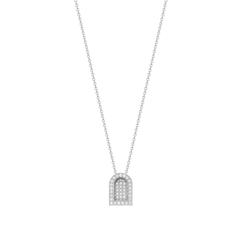 L'Arc Voyage Charm GM, 18k White Gold with Colisée Diamonds on Chain Necklace