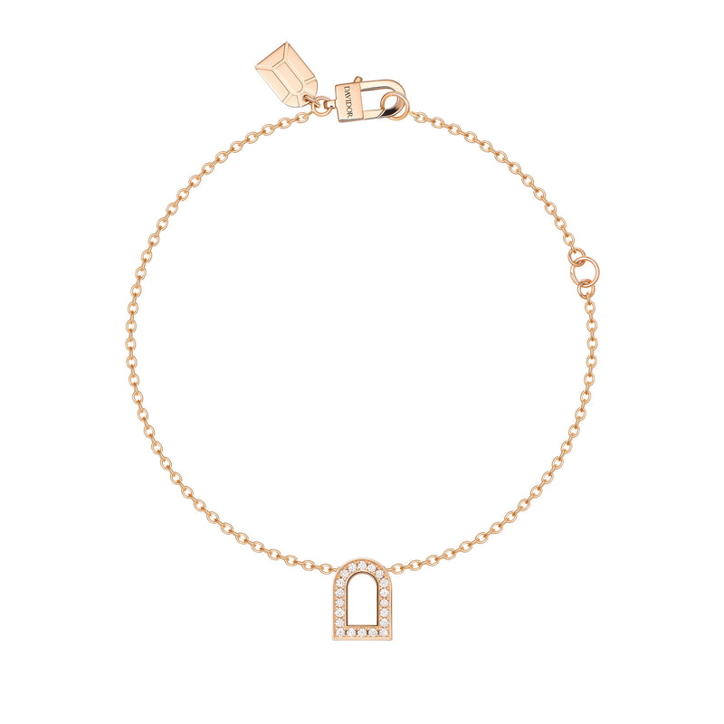 L'Arc Voyage Charm PM, 18k Rose Gold with Galerie Diamonds on Chain Bracelet