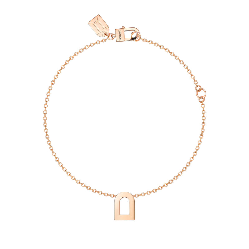 L'Arc Voyage Charm PM, 18k Rose Gold on Chain Bracelet