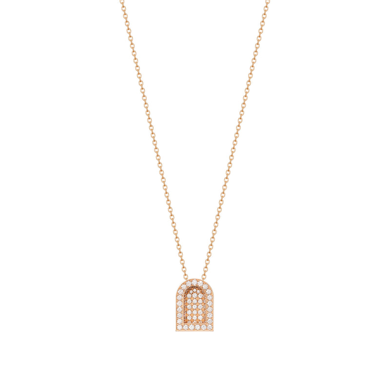 L'Arc Voyage Charm GM, 18k Rose Gold with Colisée Diamonds on Chain Necklace
