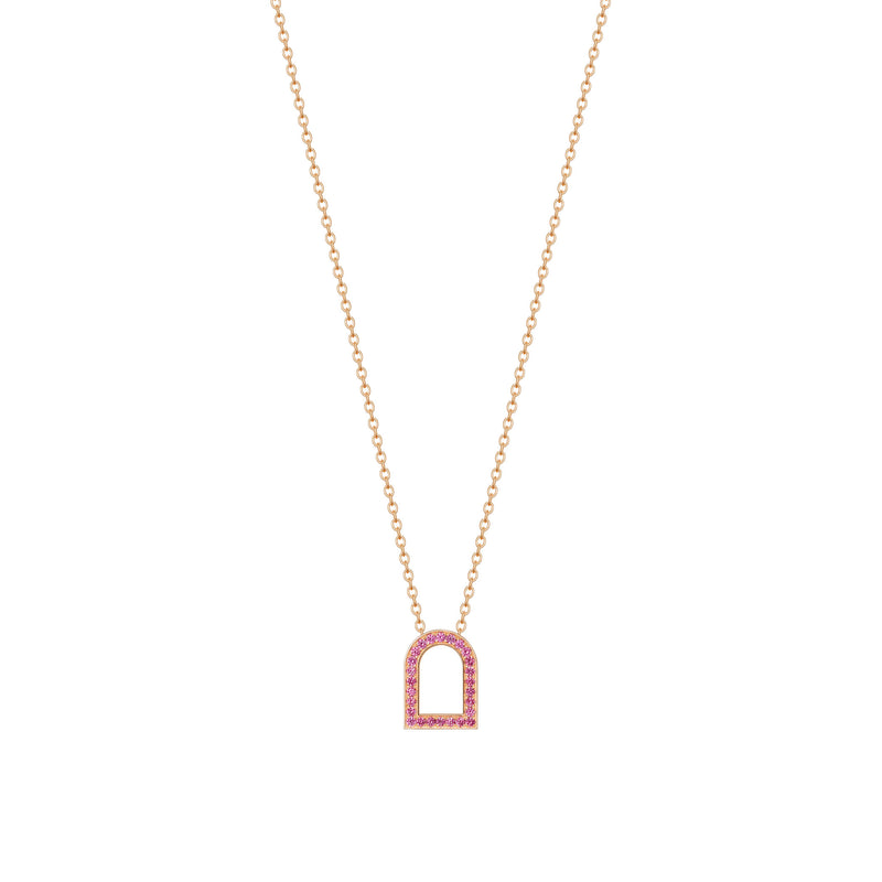 L'Arc Voyage Charm MM, 18k Rose Gold with Galerie Pink Sapphires on Chain Necklace