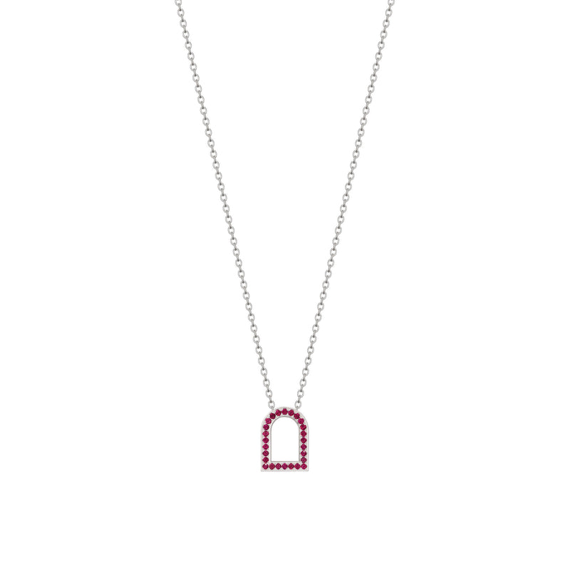 L'Arc Voyage Charm MM, 18k White Gold with Galerie Rubies on Chain Necklace